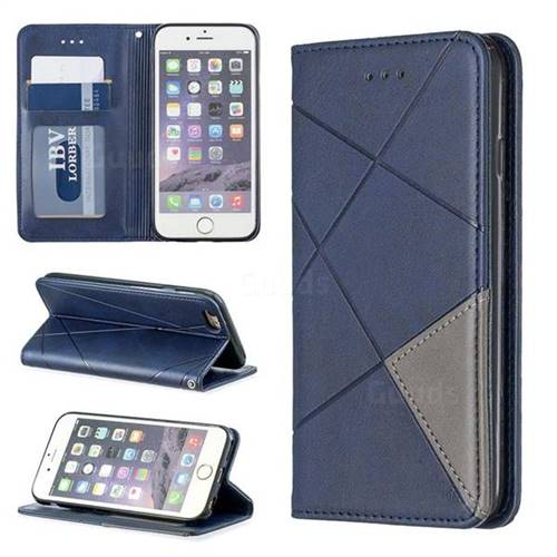 Prismatic Slim Magnetic Sucking Stitching Wallet Flip Cover for iPhone 6s 6 6G(4.7 inch) - Blue
