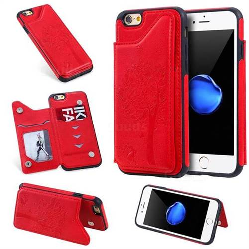 Luxury Tree and Cat Multifunction Magnetic Card Slots Stand Leather Phone Back Cover for iPhone 6s 6 6G(4.7 inch) - Red
