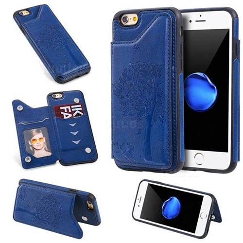 Luxury Tree and Cat Multifunction Magnetic Card Slots Stand Leather Phone Back Cover for iPhone 6s 6 6G(4.7 inch) - Blue