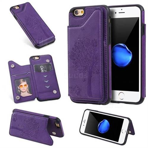 Luxury Tree and Cat Multifunction Magnetic Card Slots Stand Leather Phone Back Cover for iPhone 6s 6 6G(4.7 inch) - Purple