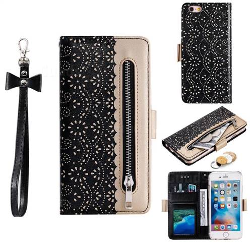 Luxury Lace Zipper Stitching Leather Phone Wallet Case for iPhone 6s 6 6G(4.7 inch) - Black
