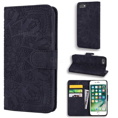 Retro Embossing Mandala Flower Leather Wallet Case for iPhone 6s 6 6G(4.7 inch) - Black