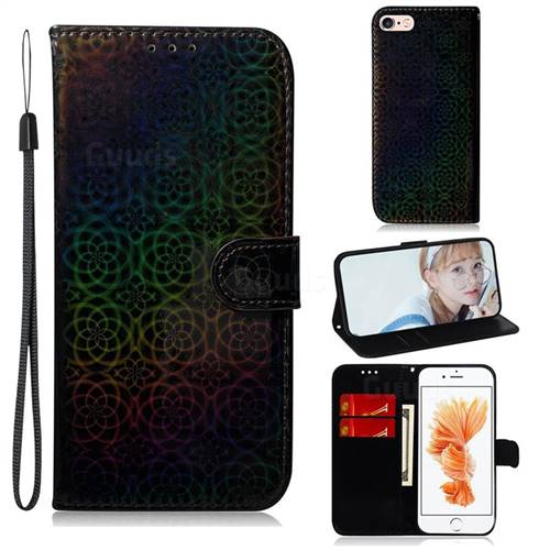 Laser Circle Shining Leather Wallet Phone Case for iPhone 6s 6 6G(4.7 inch) - Black