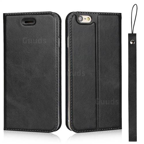 Calf Pattern Magnetic Automatic Suction Leather Wallet Case for iPhone 6s 6 6G(4.7 inch) - Black