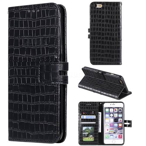 Luxury Crocodile Magnetic Leather Wallet Phone Case for iPhone 6s 6 6G(4.7 inch) - Black