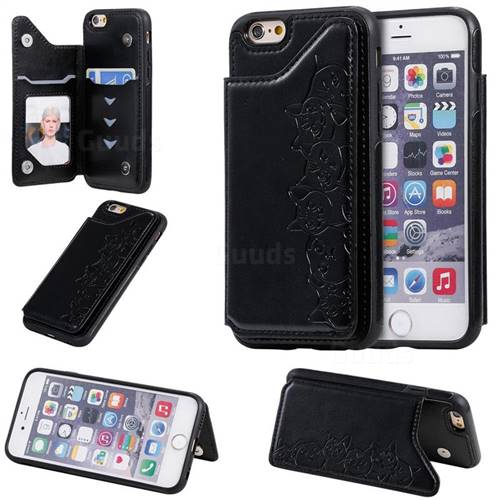 Yikatu Luxury Cute Cats Multifunction Magnetic Card Slots Stand Leather Back Cover for iPhone 6s 6 6G(4.7 inch) - Black