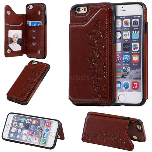 Yikatu Luxury Cute Cats Multifunction Magnetic Card Slots Stand Leather Back Cover for iPhone 6s 6 6G(4.7 inch) - Brown