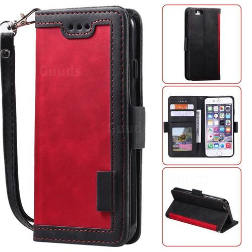 Luxury Retro Stitching Leather Wallet Phone Case for iPhone 6s 6 6G(4.7 inch) - Deep Red