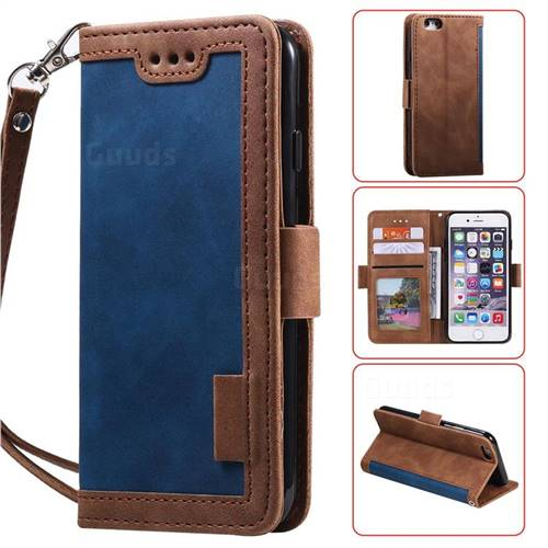 Luxury Retro Stitching Leather Wallet Phone Case for iPhone 6s 6 6G(4.7 inch) - Dark Blue