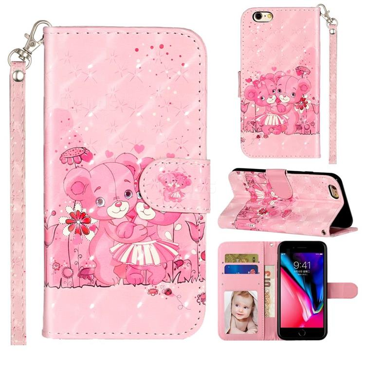 Pink Bear 3D Leather Phone Holster Wallet Case for iPhone 6s 6 6G(4.7 inch)