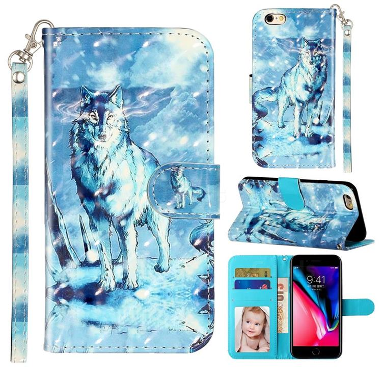 Snow Wolf 3D Leather Phone Holster Wallet Case for iPhone 6s 6 6G(4.7 inch)