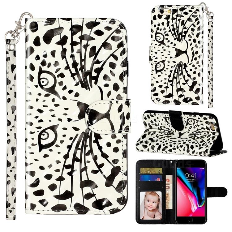 Leopard Panther 3D Leather Phone Holster Wallet Case for iPhone 6s 6 6G(4.7 inch)