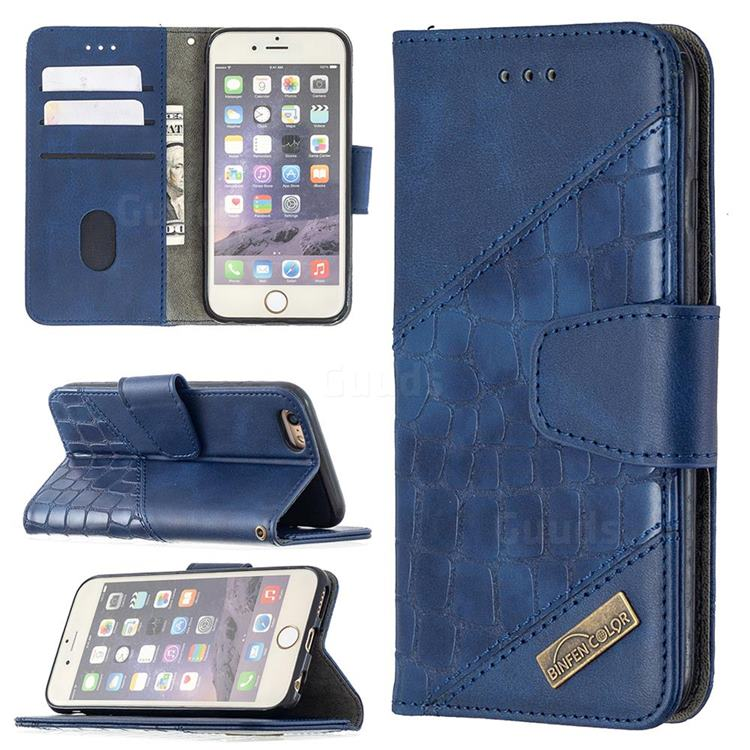 BinfenColor BF04 Color Block Stitching Crocodile Leather Case Cover for iPhone 6s 6 6G(4.7 inch) - Blue