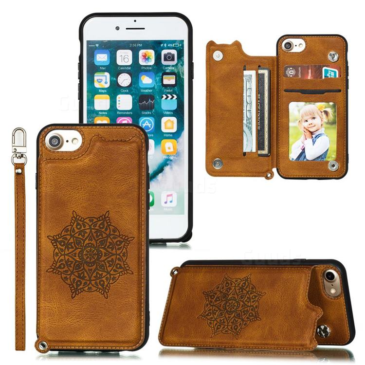 Luxury Mandala Multi-function Magnetic Card Slots Stand Leather Back Cover for iPhone 6s 6 6G(4.7 inch) - Brown