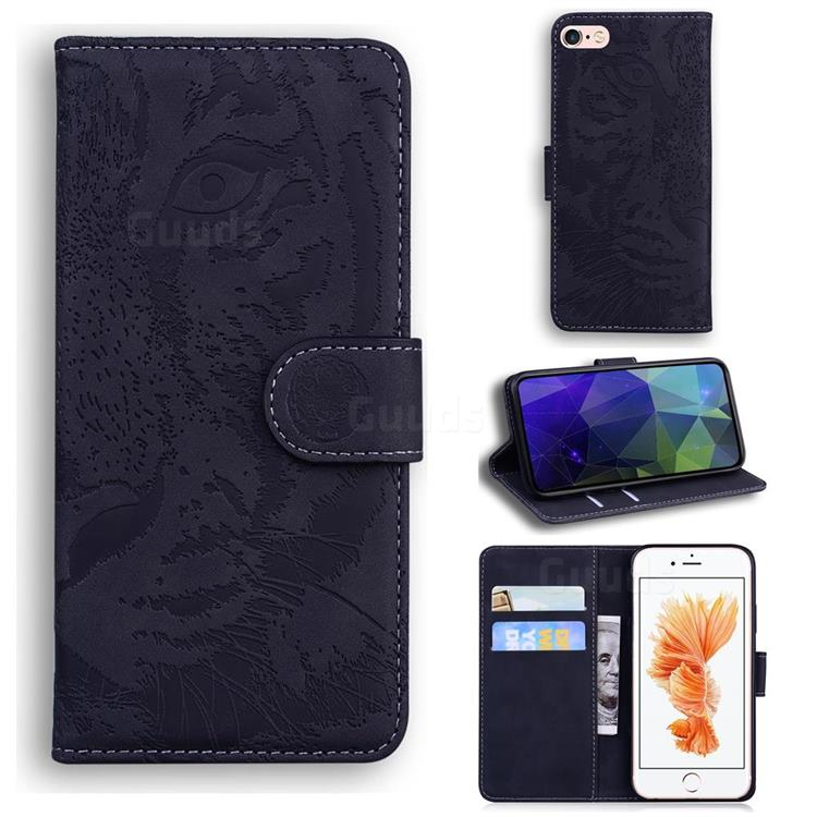 Intricate Embossing Tiger Face Leather Wallet Case for iPhone 6s 6 6G(4.7 inch) - Black