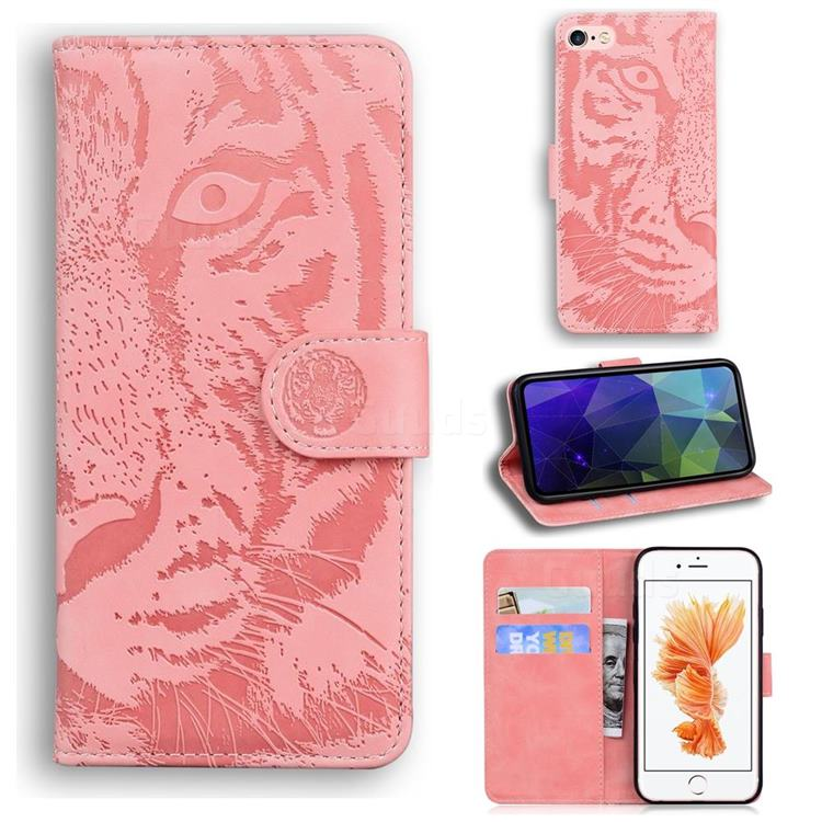 Intricate Embossing Tiger Face Leather Wallet Case for iPhone 6s 6 6G(4.7 inch) - Pink