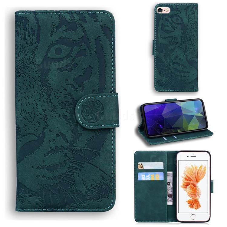 Intricate Embossing Tiger Face Leather Wallet Case for iPhone 6s 6 6G(4.7 inch) - Green