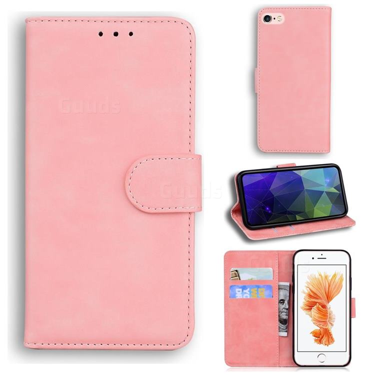 Retro Classic Skin Feel Leather Wallet Phone Case for iPhone 6s 6 6G(4.7 inch) - Pink