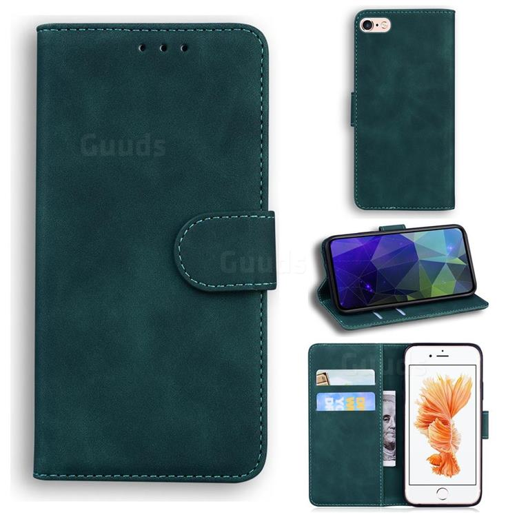 Retro Classic Skin Feel Leather Wallet Phone Case for iPhone 6s 6 6G(4.7 inch) - Green