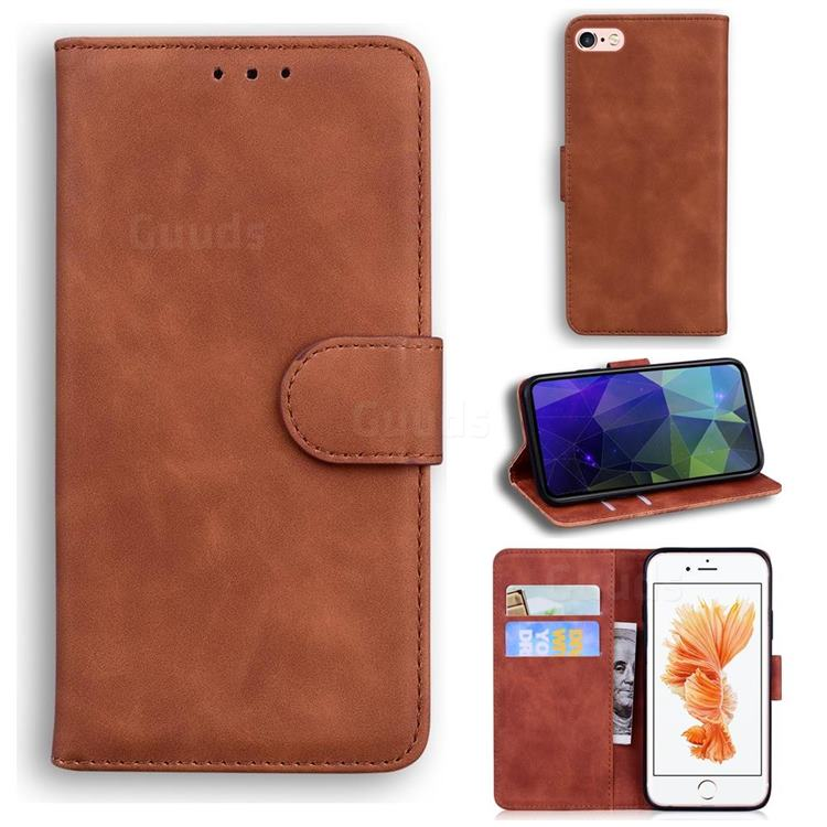 Retro Classic Skin Feel Leather Wallet Phone Case for iPhone 6s 6 6G(4.7 inch) - Brown