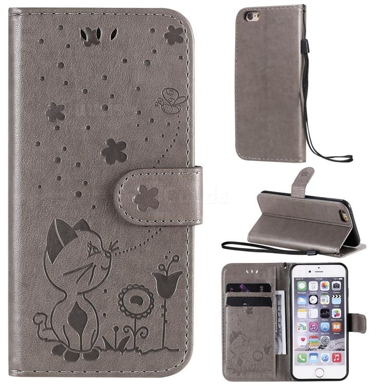Embossing Bee and Cat Leather Wallet Case for iPhone 6s 6 6G(4.7 inch) - Gray