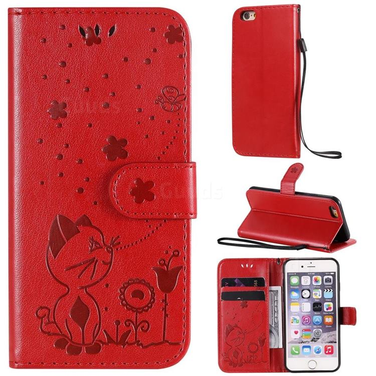 Embossing Bee and Cat Leather Wallet Case for iPhone 6s 6 6G(4.7 inch) - Red