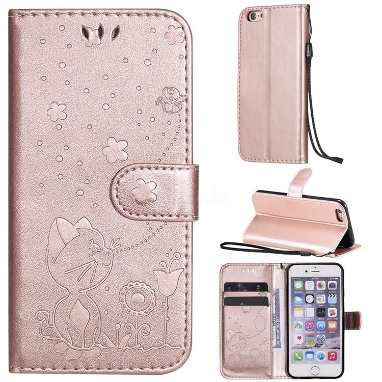 Embossing Bee and Cat Leather Wallet Case for iPhone 6s 6 6G(4.7 inch) - Rose Gold