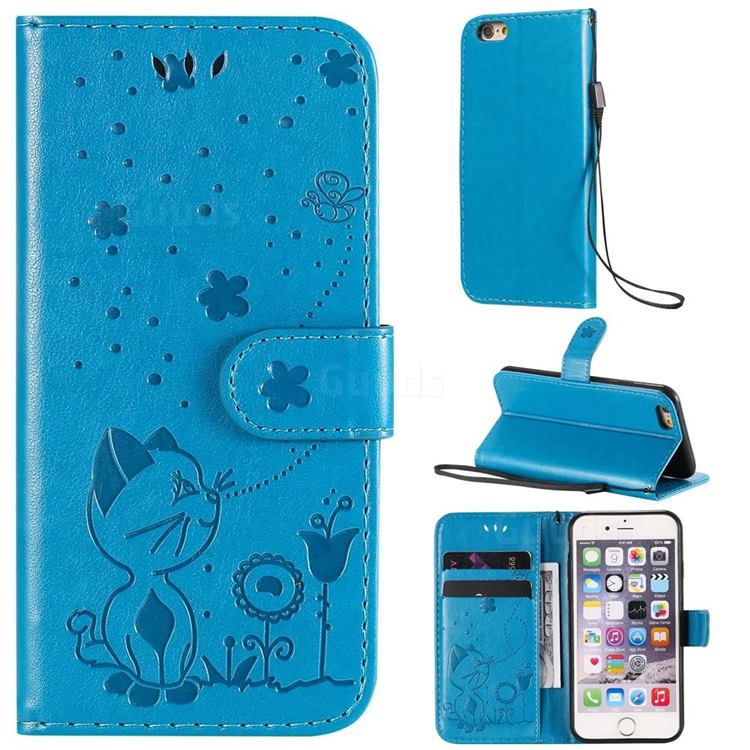 Embossing Bee and Cat Leather Wallet Case for iPhone 6s 6 6G(4.7 inch) - Blue