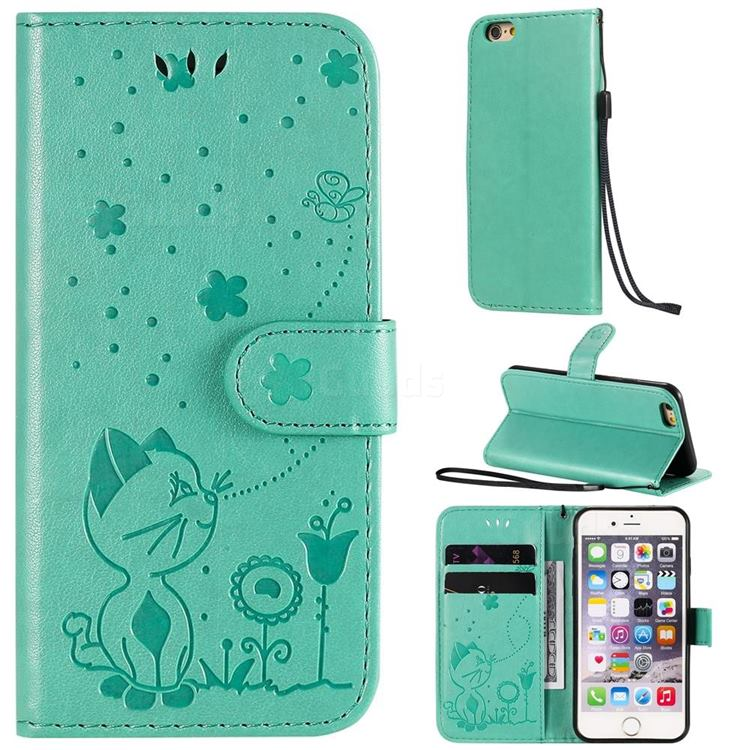 Embossing Bee and Cat Leather Wallet Case for iPhone 6s 6 6G(4.7 inch) - Green