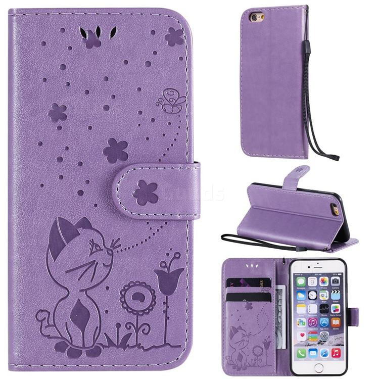 Embossing Bee and Cat Leather Wallet Case for iPhone 6s 6 6G(4.7 inch) - Purple