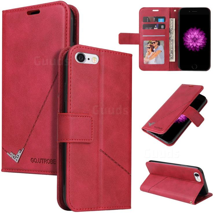 GQ.UTROBE Right Angle Silver Pendant Leather Wallet Phone Case for iPhone 6s 6 6G(4.7 inch) - Red