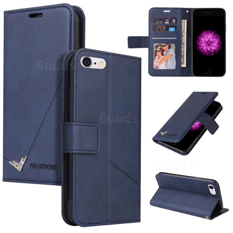 GQ.UTROBE Right Angle Silver Pendant Leather Wallet Phone Case for iPhone 6s 6 6G(4.7 inch) - Blue