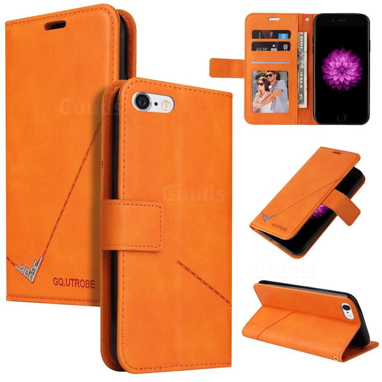 GQ.UTROBE Right Angle Silver Pendant Leather Wallet Phone Case for iPhone 6s 6 6G(4.7 inch) - Orange