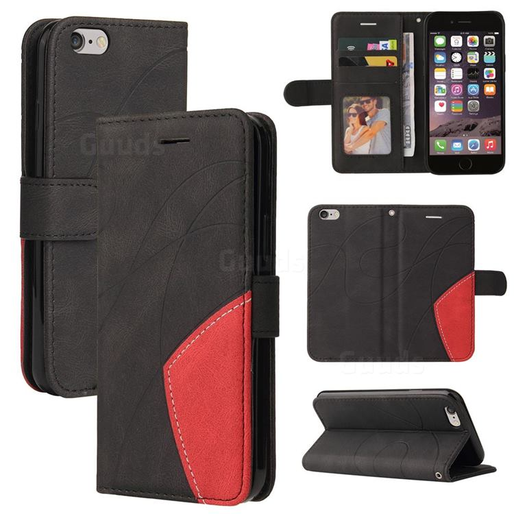Luxury Two-color Stitching Leather Wallet Case Cover for iPhone 6s 6 6G(4.7 inch) - Black
