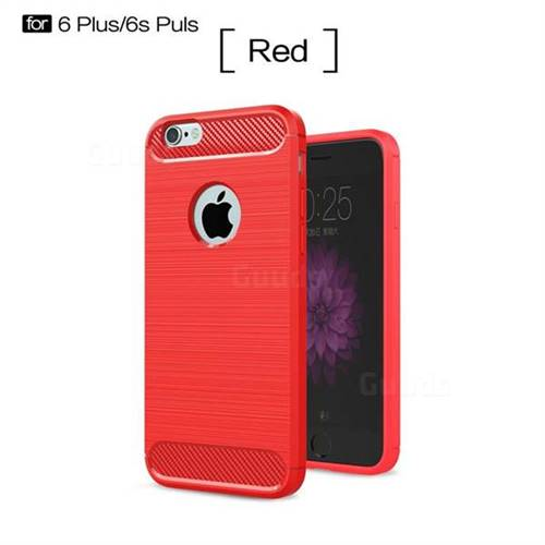 Luxury Carbon Fiber Brushed Wire Drawing Silicone TPU Back Cover for iPhone 6s Plus / 6 Plus 6P(5.5 inch) (Red)