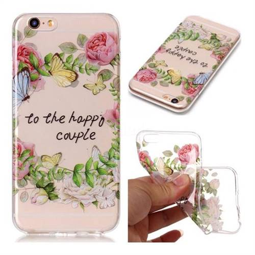 Green Leaf Rose Super Clear Soft TPU Back Cover for iPhone 6s Plus / 6 Plus 6P(5.5 inch)