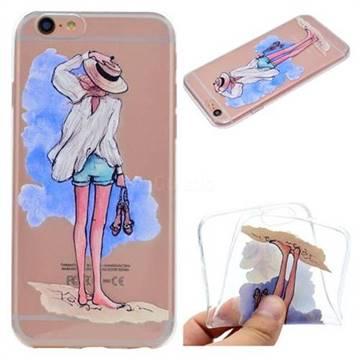 Beach Girl Super Clear Soft TPU Back Cover for iPhone 6s Plus / 6 Plus 6P(5.5 inch)
