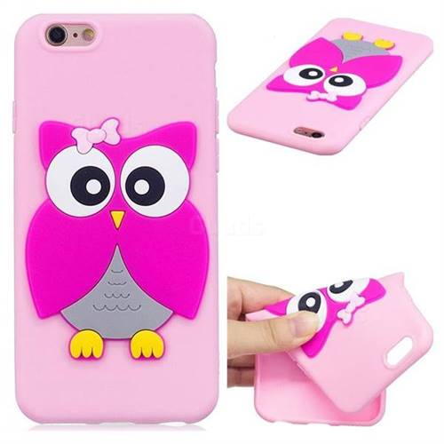 Pink Owl Soft 3D Silicone Case for iPhone 6s Plus / 6 Plus 6P(5.5 inch)