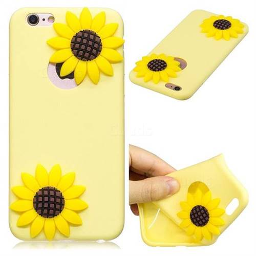 Yellow Sunflower Soft 3D Silicone Case for iPhone 6s Plus / 6 Plus 6P(5.5 inch)
