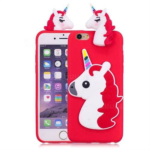 finest selection 6f2d4 fcf9a Unicorn Soft 3D Silicone Case for iPhone 6s Plus / 6 Plus 6P(5.5 inch) - Red