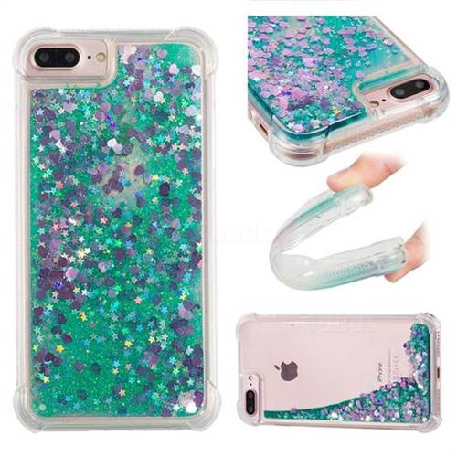 Dynamic Liquid Glitter Sand Quicksand TPU Case for iPhone 6s Plus / 6 Plus 6P(5.5 inch) - Green Love Heart