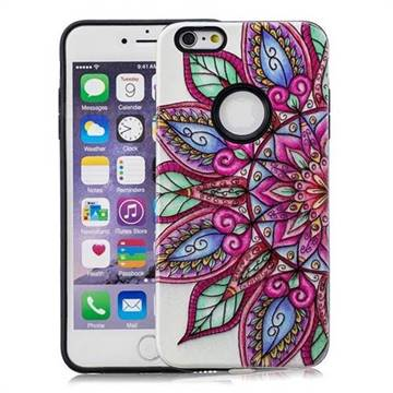 Mandara Flower Pattern 2 in 1 PC + TPU Glossy Embossed Back Cover for iPhone 6s Plus / 6 Plus 6P(5.5 inch)