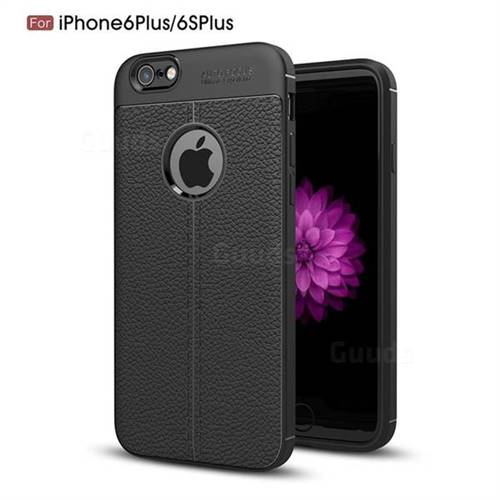 Luxury Auto Focus Litchi Texture Silicone TPU Back Cover for iPhone 6s Plus / 6 Plus 6P(5.5 inch) - Black