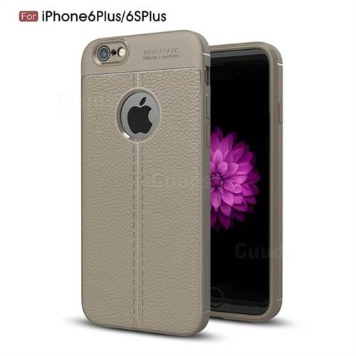 Luxury Auto Focus Litchi Texture Silicone TPU Back Cover for iPhone 6s Plus / 6 Plus 6P(5.5 inch) - Gray
