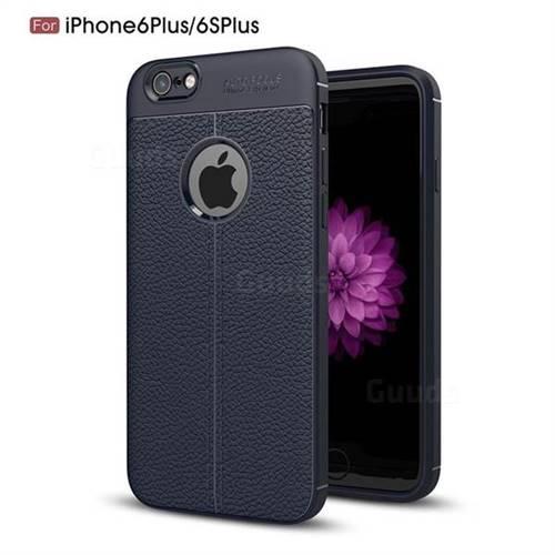 Luxury Auto Focus Litchi Texture Silicone TPU Back Cover for iPhone 6s Plus / 6 Plus 6P(5.5 inch) - Dark Blue