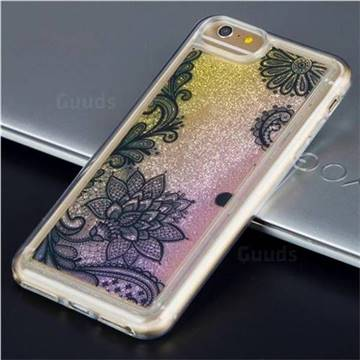 Diagonal Lace Glassy Glitter Quicksand Dynamic Liquid Soft Phone Case for iPhone 6s Plus / 6 Plus 6P(5.5 inch)
