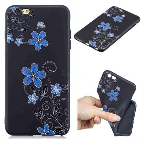 Little Blue Flowers 3D Embossed Relief Black TPU Cell Phone Back Cover for iPhone 6s Plus / 6 Plus 6P(5.5 inch)