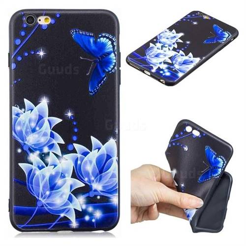 Blue Butterfly 3D Embossed Relief Black TPU Cell Phone Back Cover for iPhone 6s Plus / 6 Plus 6P(5.5 inch)