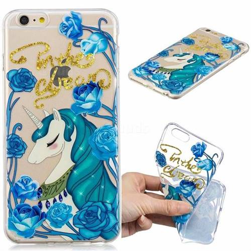 Blue Flower Unicorn Clear Varnish Soft Phone Back Cover for iPhone 6s Plus / 6 Plus 6P(5.5 inch)