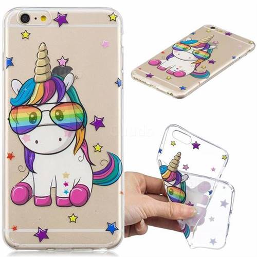 Glasses Unicorn Clear Varnish Soft Phone Back Cover for iPhone 6s Plus / 6 Plus 6P(5.5 inch)